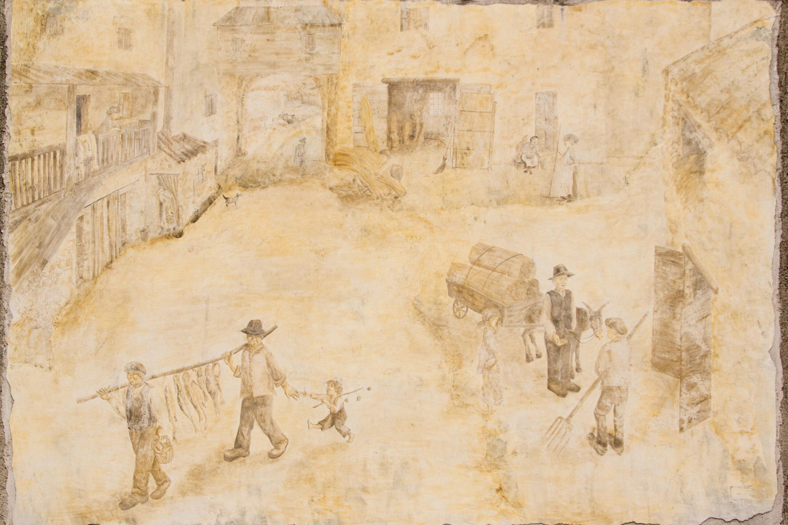 Murales a Fratta: cortile rurale