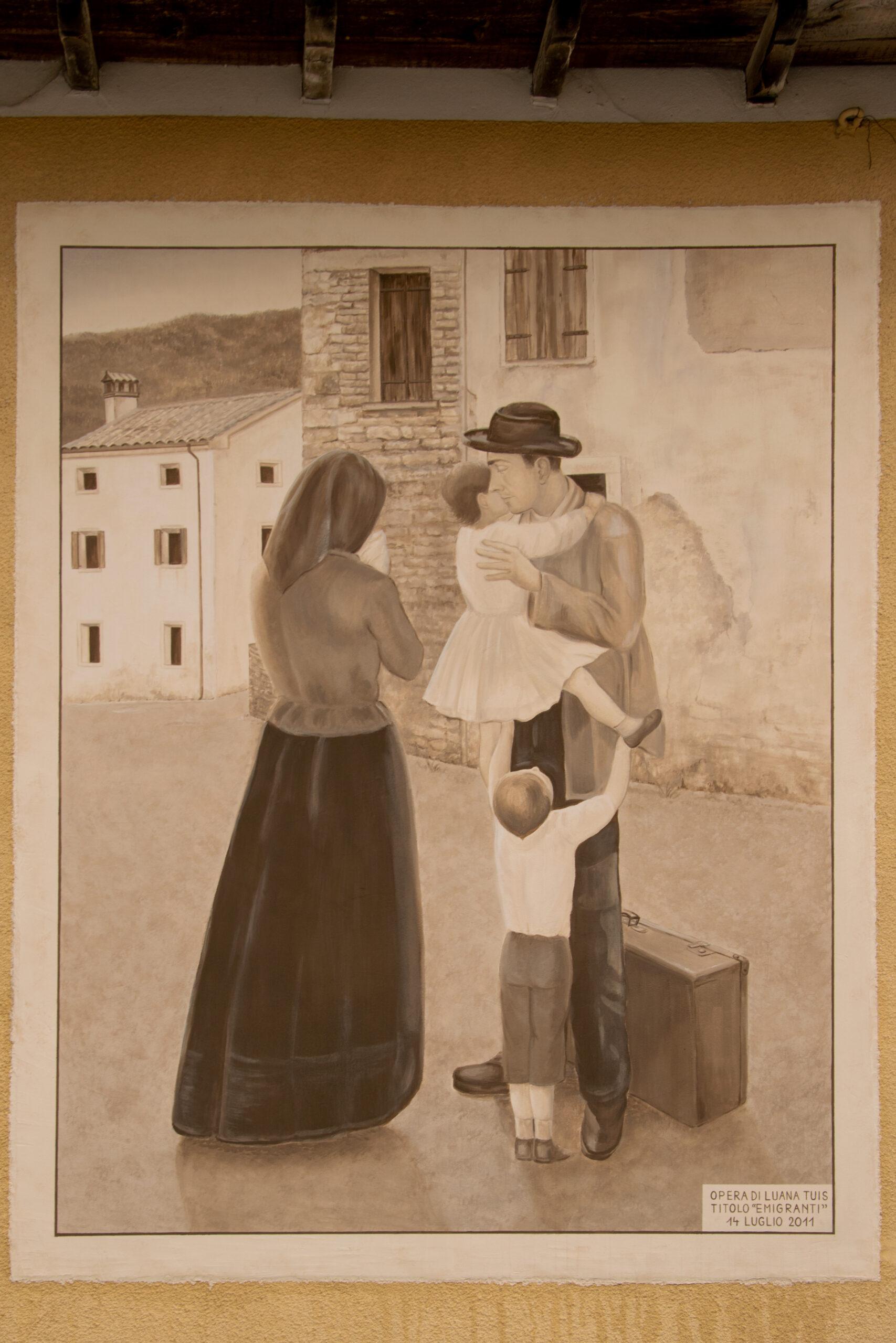 Murales a Fratta: L'emigrazione (vicino Laghi Revine)