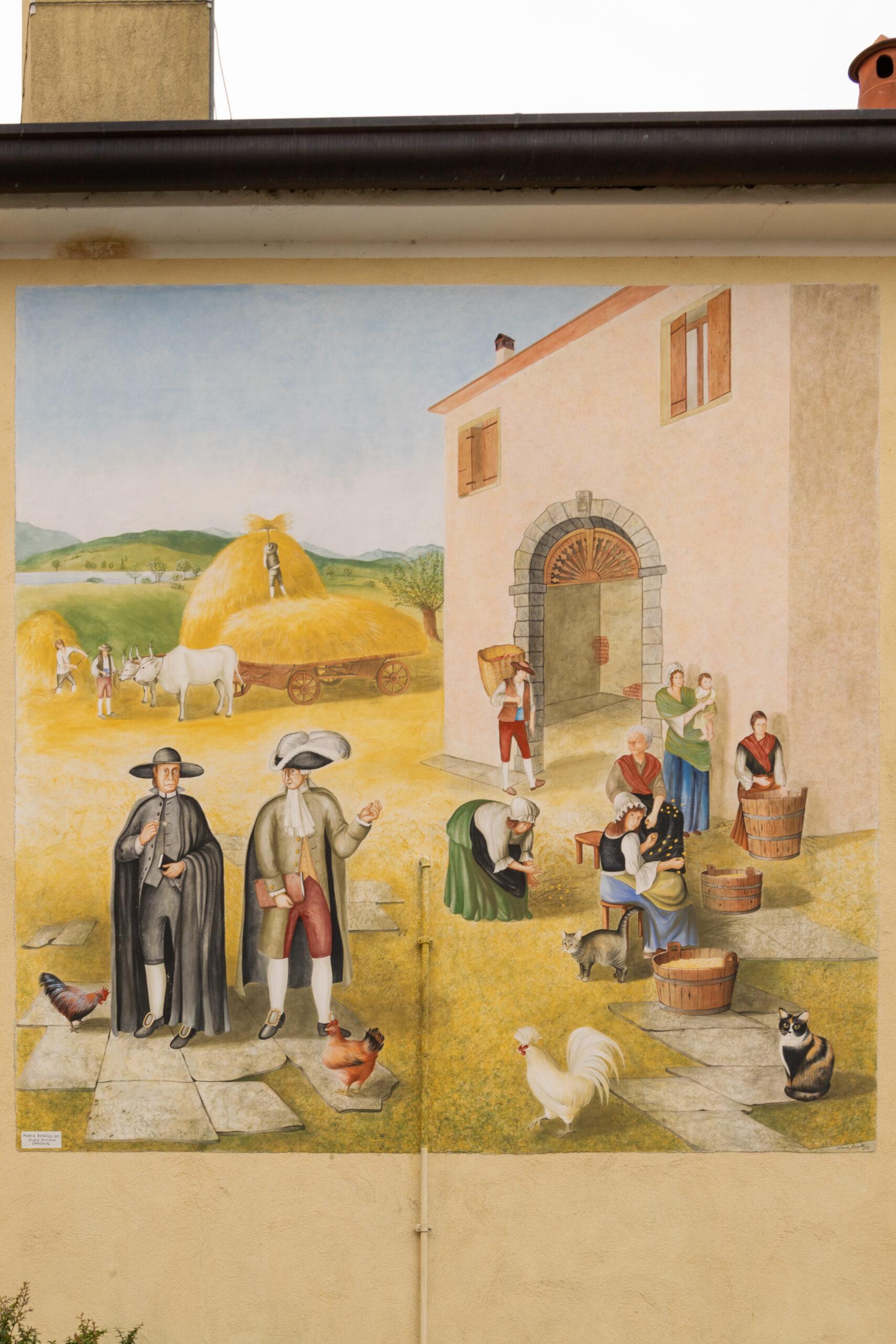 Murales a Fratta: la vita in Villa Rossi (vicino al Laghi di Revine)