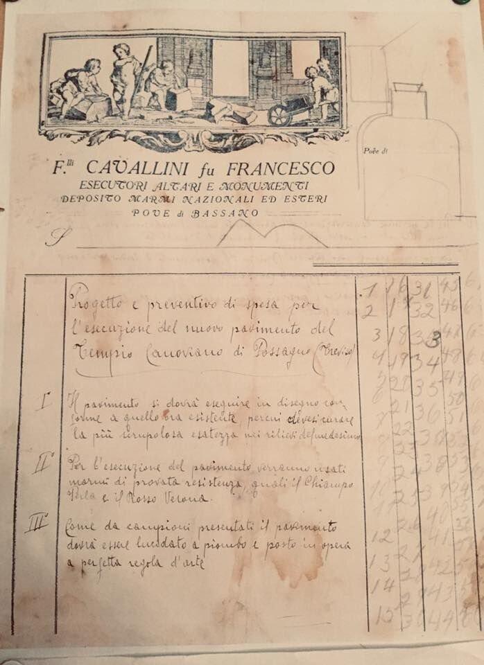 Documento originale per i lavori del Tempio di Canova a Possagno